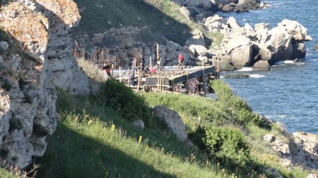 This 2014 photo shows the illegal construction in progress in the Yailata Archaeological Preserve. Photo: bTV