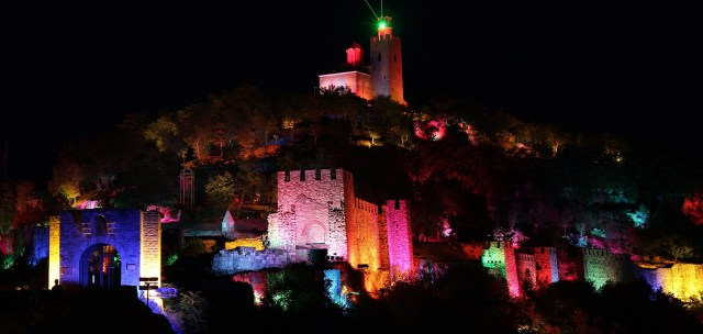 A view of the Tsarevets Hill Fortress in Bulgaria's Veliko Tarnovo during the performance of the Light and Sound Show telling the story of the Second Bulgarian Empire (1185-1396). Photo: Sound and Light Show Website. More photos of the show view HERE
