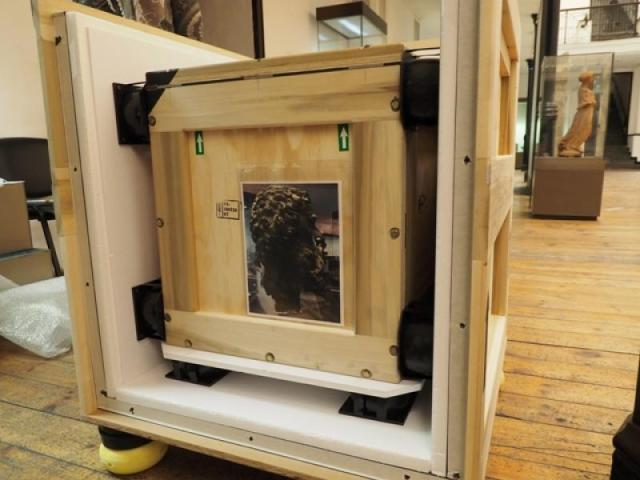 """Photos showing the arrival of the bronze head of Thracian King Seuthes III """"home"""" at the National Institute and Museum of Archaeology in Sofia. Photos: Bulgaria's Ministry of Culture"""
