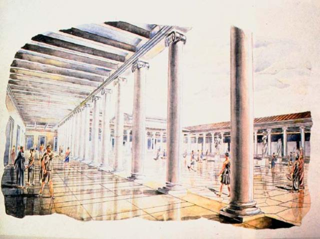 A painting showing what the Forum (central square) of Nicopolis ad Istrum probably looked like. Photo: Veliko Tarnovo Regional Museum of History