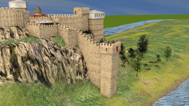 Sabin Bizhev's 3D model of his interpretation of the section of the Tsarevets Fortress where today Baldwin's Tower is located. Compared it with the restored tower in the photo below. Photo: Sabin Bizhev/Borba daily
