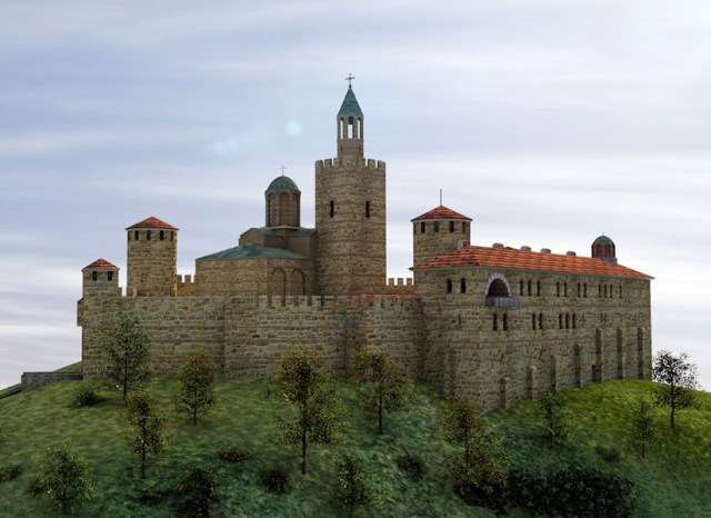 A 3D model of the restored Patriarch's Cathedral on the Tsarevets Hill in Bulgaria's Veliko Tarnovo. Compare this image with a photo of the modern-day view of the Tsarevets Hill below. Photo: Sabin Bizhev/Borba daily