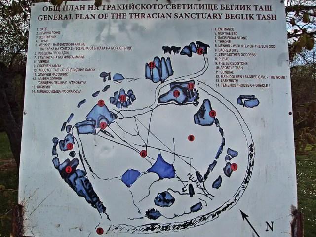 A map of the Ancient Thracian megalithic shrine of Beglik Tash near Bulgaria's Primorsko. Photo: Ivo Filipov, Wikipedia