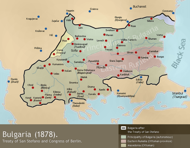 The newly liberated Bulgaria after the Treaty of San Stefano (March 1878) and the Treaty of Berlin (July 1878). Map: Todor Bozhinov, Wikipedia