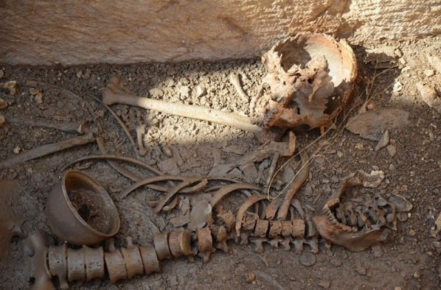 Human remains found inside the newly discovered sarcophagi. Photo: Trud daily