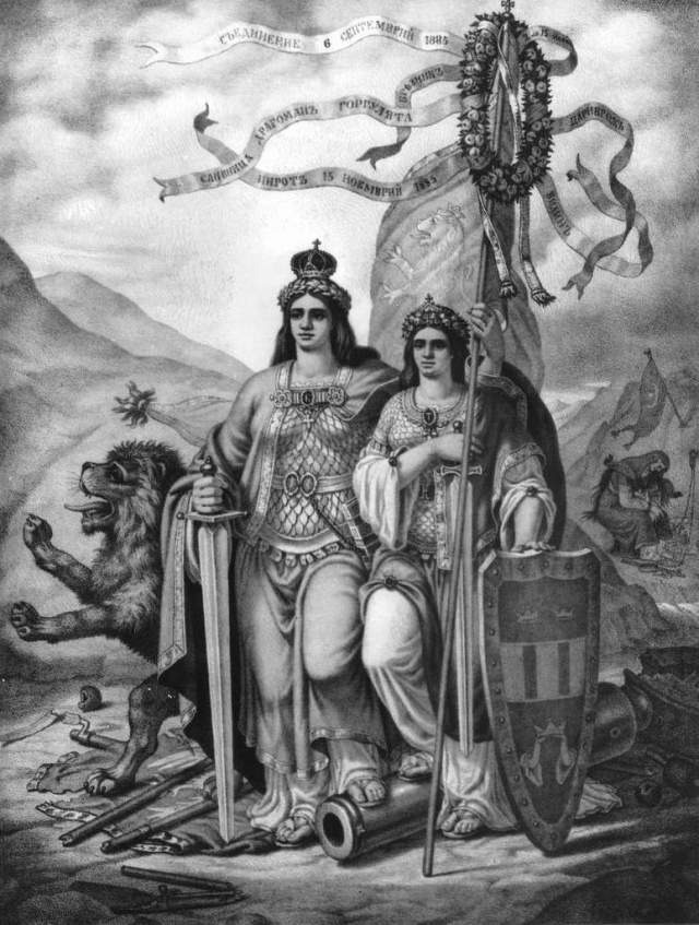 """Unified Bulgaria"", a litography by Bulgarian painter Nikolay Pavlovich, on the Unification of the Principality of Bulgaria and Easter Rumelia. It is a follow-up of the previous litography depicting the partitioned Bulgaria (see above); now Moesia and Thrace, two of the three sisters representing Bulgaria's three historic and geographic regions, Moesia, Thrace, and Macedonia, are pictured standing together free and united. The third sister, Macedonia, is seen in the background on the right still in the chains of the Ottoman Yoke. Photo: Bulgarian National Radio"
