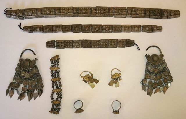 Silver adornments from the newly found 17th century treasure discovered near Montana in Northwest Bulgaria. Photo: National Museum of History