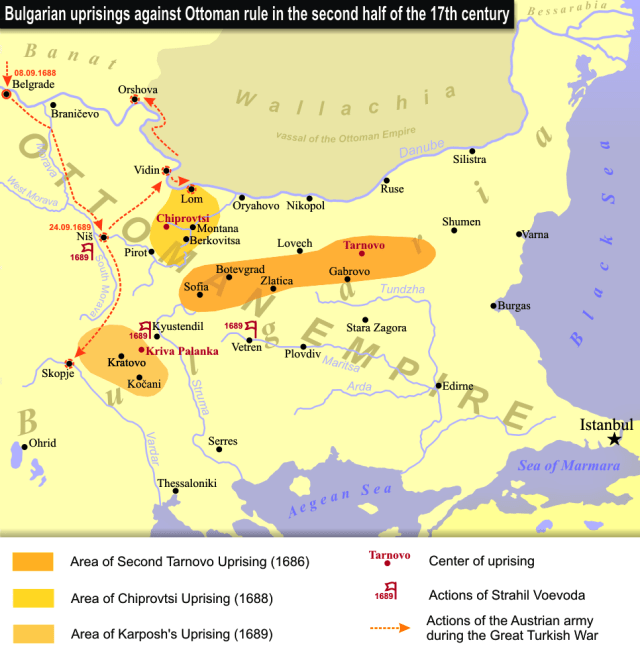 A map showing the region of the Chiprovtsi Uprising in 1688. Map: Wikipedia