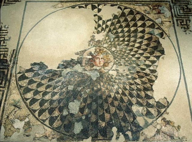 A detail from the mosaic of gorgon Medusa, early 4th century AD, in a Roman villa, exhibited in situ in the Museum of Roman Mosaics of ancient Marcianopolis (Marcianople) in Bulgaria's Devnya. Photo: Devnya Municipality