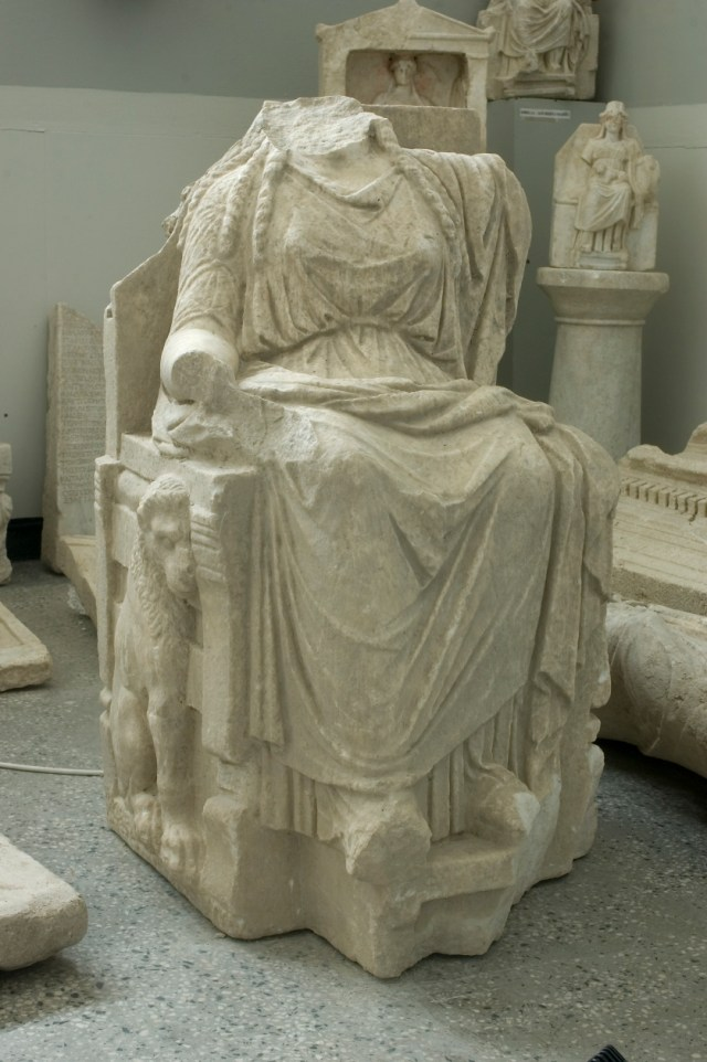 The largest statue of goddess Cybele discovered in its Temple from ancient Dionysolpolis, with a lion relief on its right side. It is part of the collection of the Balchik Museum of History. Photo: Balchik Tourist Information Center