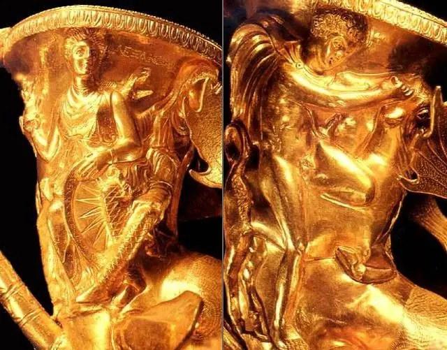 Ancient mythology scenes depicted on the vessels of the Panagyurishte Treasure: (left) wisdom goddess Athena; (right) Thesius fighting the Cretan (Marathonian) Bull. Photos: Panagyurishte Museum of History