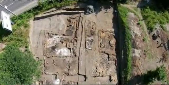 An aerial view of the latest archaeological excavations of the Neolithic Settlement in the Slatina Quarter of the Bulgarian capital Sofia. The digs have resulted in the discovery of two enormous prehistoric homes, among other discoveries. Photo: TV grab from BNT