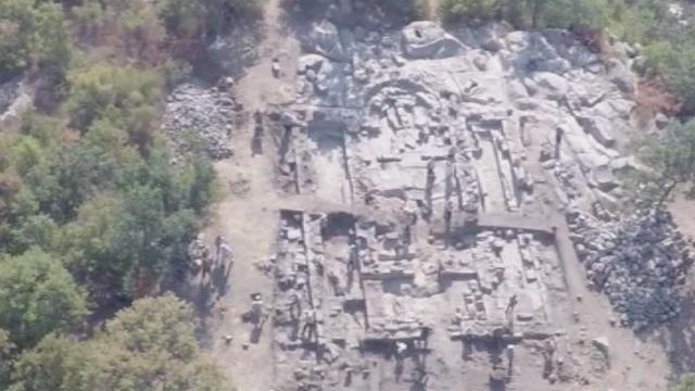 An aerial view of the newly found Early Christian basilica in the rock of Perperikon in Southern Bulgaria. Photo: BNT