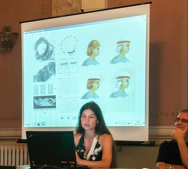 Author Kalina Atanasova during the presentation of her book on clothing in the Second Bulgarian Empire in the Varna Museum of Archaeology. Photos: Bulgarian Medieval Costumes Facebook Page / Elina Todorova