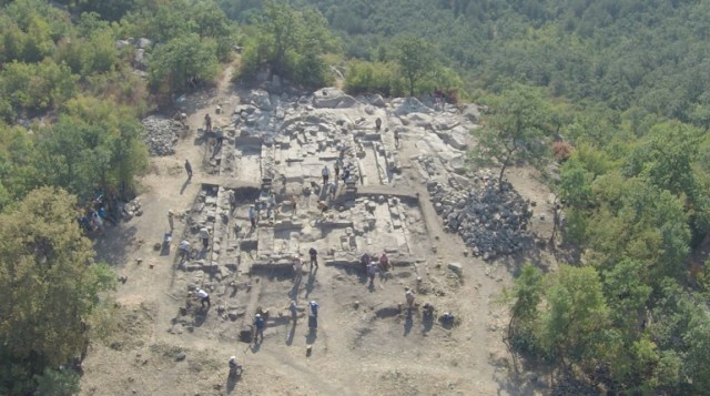 An aerial view of the newly discovered Early Christian basilica in the rock city of Perperikon in the Eastern Rhodope Mountains in Southern Bulgaria. Photo: Archaeological Team / Sega daily