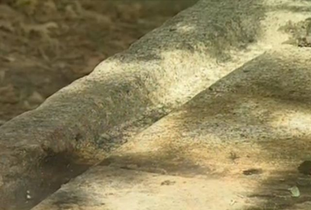 The furrows along the edges of the ancient rock vessel. Photo: TV grab from BNT 2