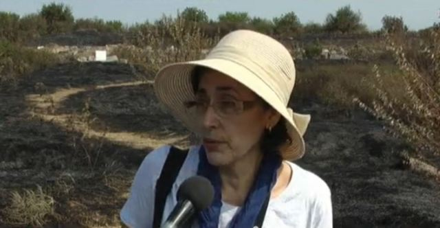 Lead archaeologist Gergana Kabakchieva, who has been researching Ulpia Oescus for more than 30 years, is in shock after the apparent arson. Photos: TV grabs from BNT