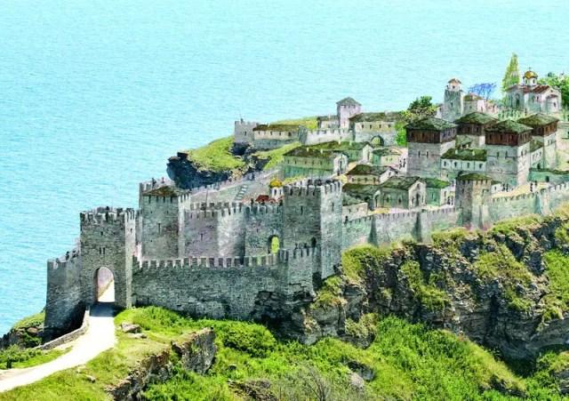 "A virtual reconstruction of the inner city fortress of Kaliakra. Photo: Sveti Mesta (""Holy Sites"")"