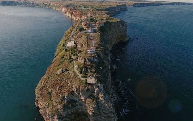 "A view of the picturesque Kaliakra Cape in Northeast Bulgaria which harbored a major city in the Antiquity and Middle Ages. Photo: Video grab from Bulgariaotvisiko.com (""Bulgaria from Above"")"