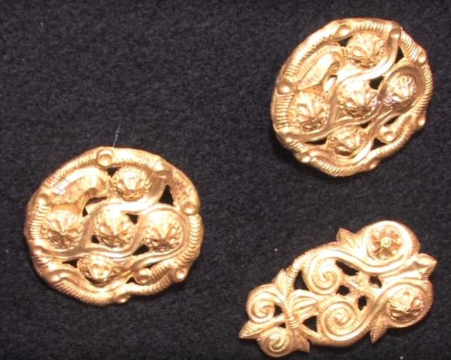 Part of the sophisticated gold appliques making up the Primorsko Gold Treasure. Photo: Primorsko Municipality