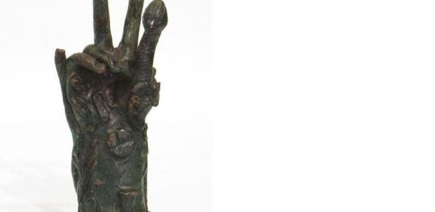 Richly Decorated Bronze Hand of Thracian, Phrygian God Sabazios Shown by History Museum in Bulgaria's Gabrovo