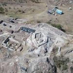 Massive Hexagonal Tower Keep, Horn Workshop Excavated in Medieval Fortress Rusocastro in Southeast Bulgaria