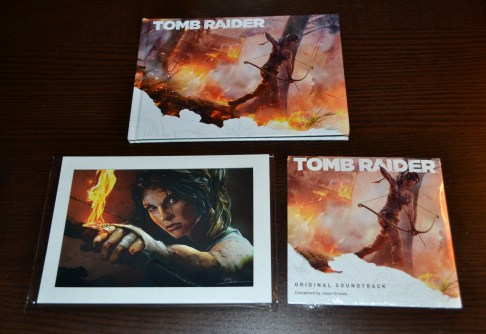 Tomb Raider 2013 art book, soundtrack, and lithograph
