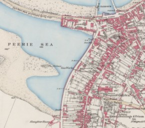 1882 map of Kirkwall shwoing the old shoreline