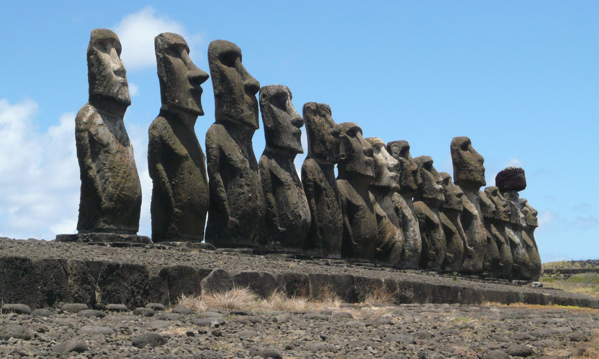 The moai statues of Easter Island. Under threat from climate change. Photograph: Jane Downes.