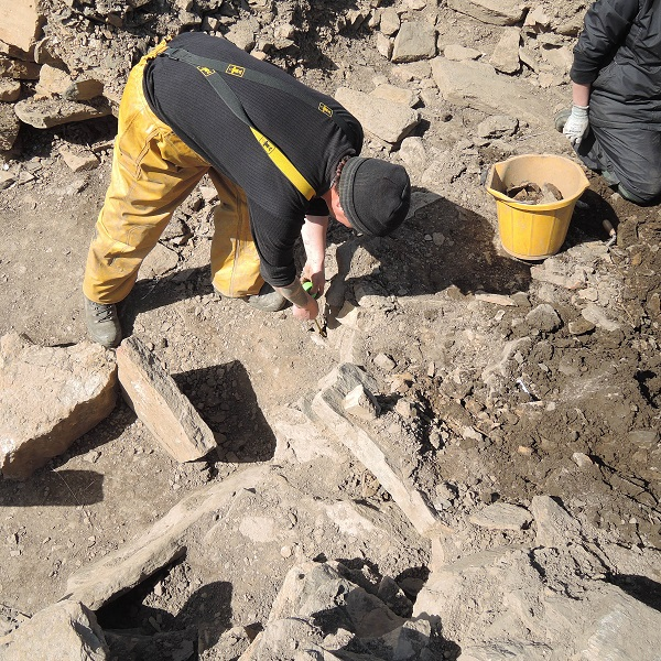 Dave examining the rubble in Trench Q