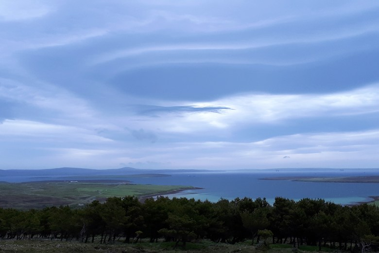 Looking down into the Scapa Flow anchorage from the island of Hoy