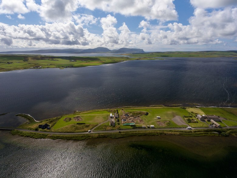 Aerial view of the Ness of Brodgar excavation site. (Scott Pike)