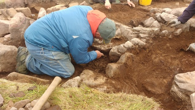 Archaeologists excavating at Loth Road, Sanday