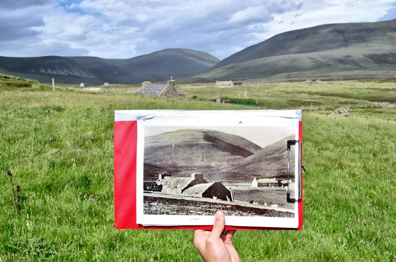 Finding the location where historical photos were taken in Rackwick, Hoy, for the 'Rackwick Backflip' project. (Dan Lee/ORCA)