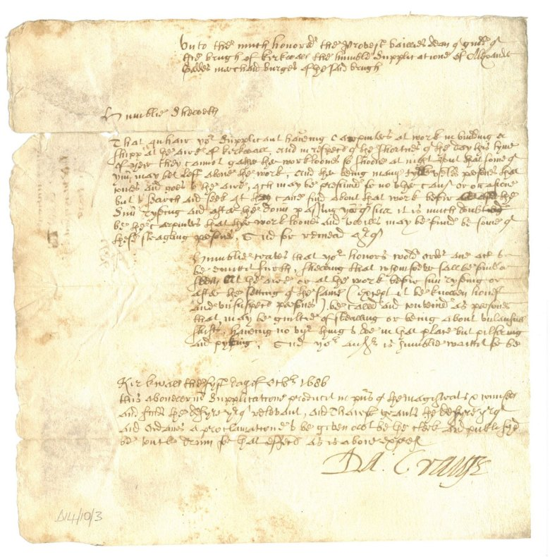 Provost Craigie's 1686 response to the plea for help from Alexander Geddes. (Courtesy of the Orkney Library and Archives)