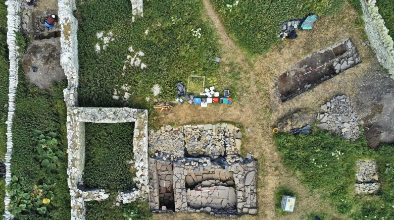 Overhead view of Trenches Nineteen (left) and Twenty-Two at Skaill, Rousay. (Bobby Friel/@takethehighview)