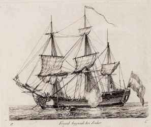 Engraving of a frigate similar to The Utrecht