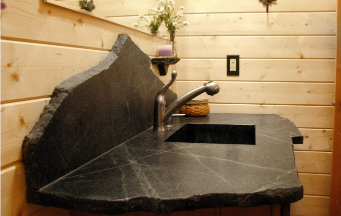 Soapstone countertop. Source: https://www.youtube.com/watch?v=GVDYf1CcX8c