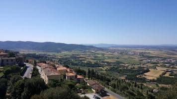 View from Cortona with Lake Trasimeno visible in the distance