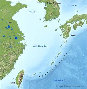 Map of the Yellow Sea and East China Sea (Source: freeworldmaps.net)