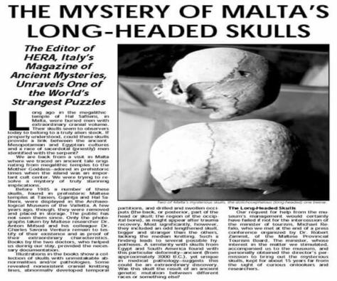"""The Mystery of Malta's Long-Headed Skulls"". Source: The Explorer (2017)"