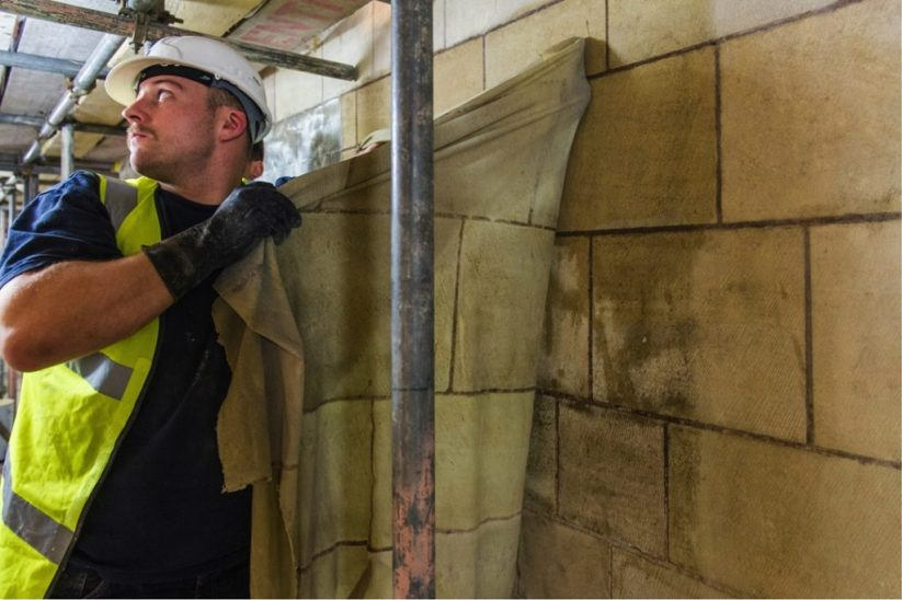 Technicians removing the latex in Westminster Hall, 2015. Photo courtesy DBR Limited