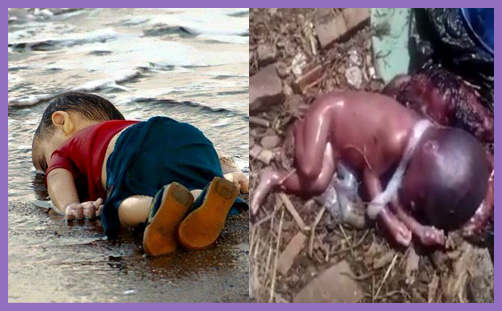 Look, a dead baby. Now change your wicked, callous policy