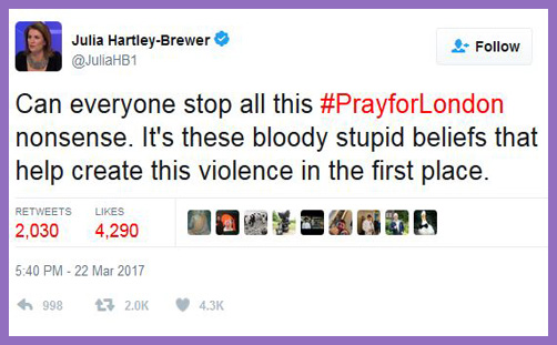 "Julia Hartley-Brewer: it's ""bloody stupid beliefs"" like prayer which help create acts of terrorism"