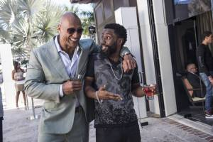 John David Washington as 'Ricky Jerret' with Dwayne 'The Rock' Johnson as Spencer Strasmore during a scene of Ballers.