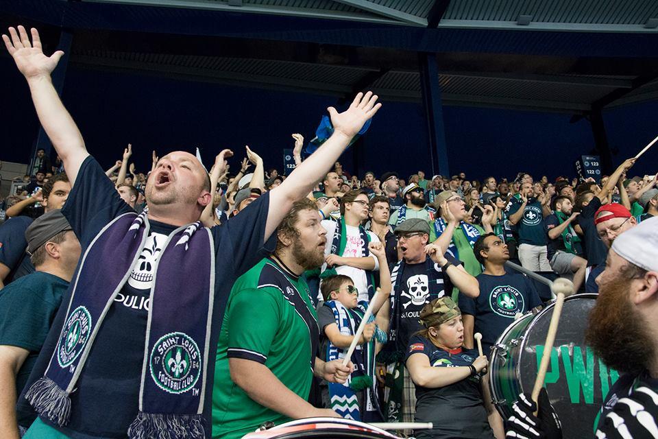 Saint Louis fans in loud voice at Sporting Park KS, Picture via Jason Patrylo