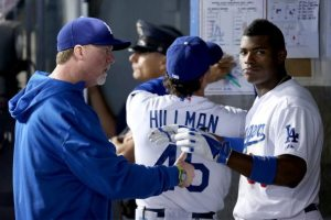 Mark McGwire with Yasiel Puig as Dodgers hitting coach. (Photo by Jeff Gross/Getty Images)