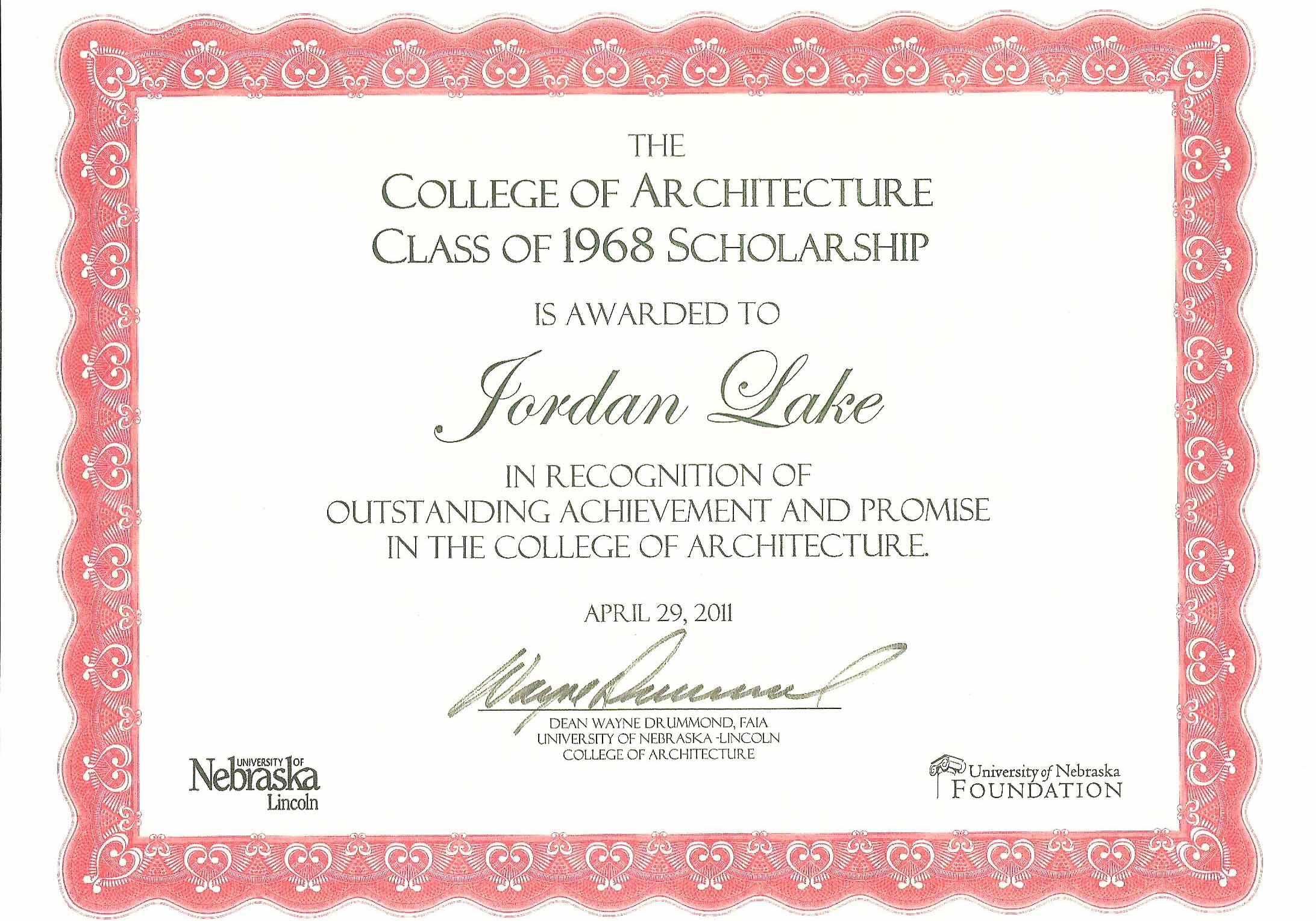 scholarship recipient certificate