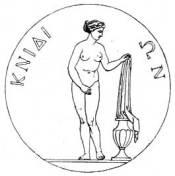 Reproduction d'une monnaie cnidienne représentant la statue d'Aphrodite.