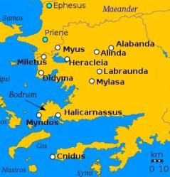 carte cités antiques Carie
